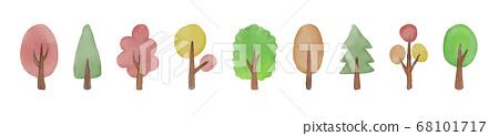 """水彩手繪""""樹""""矢量插圖集 68101717"""