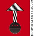 紅色和黑色條紋的箭頭 68102099