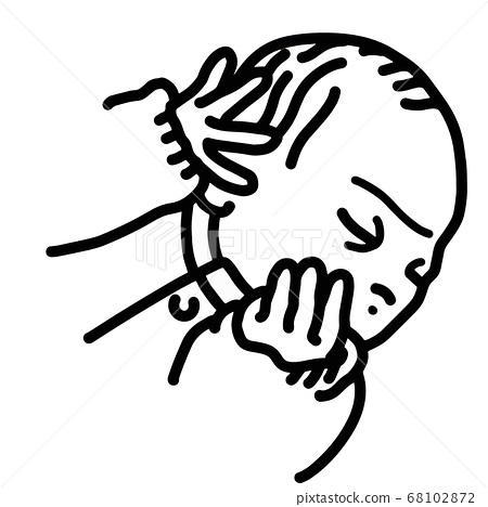 Monochrome illustration of a newborn sleeping with closed eyes 68102872