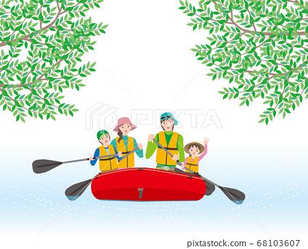 一家四口享受充氣船在河上巡遊 68103607