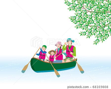 一家四口享受河上劃獨木舟 68103608