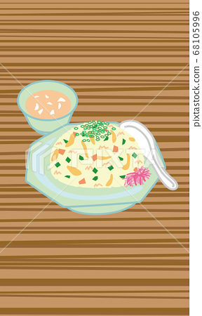 Illustration of fried rice and soup set 68105996