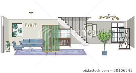 두 층 집 현관에서 거실 - 인테리어 68106345