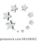 크고 작은 별의 오브제 집합체. 3D 렌더링. 68108062