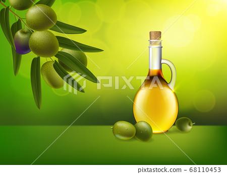 Leaf of green olives. Realistic bottle of olive oil branch. Vector illustration. 68110453