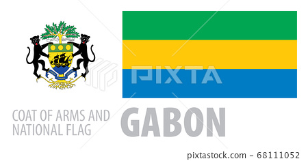 Vector set of the coat of arms and national flag of Gabon 68111052