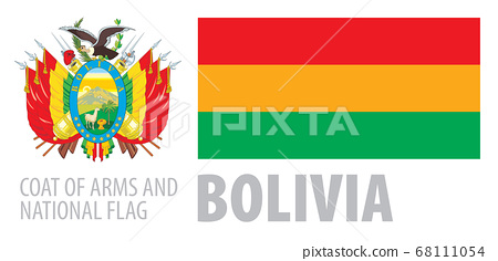 Vector set of the coat of arms and national flag of Bolivia 68111054