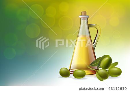 Leaf of green olives. Realistic bottle of olive oil branch. Vector illustration. 68112650