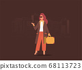 Young girl travel flat vector illustration 68113723