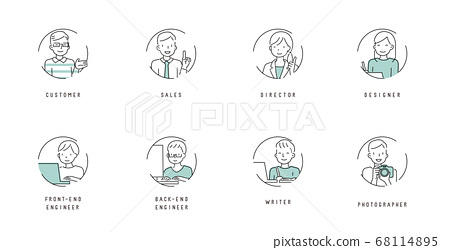 web 제작에 관련된 직업 심플 라인 아이콘 68114895