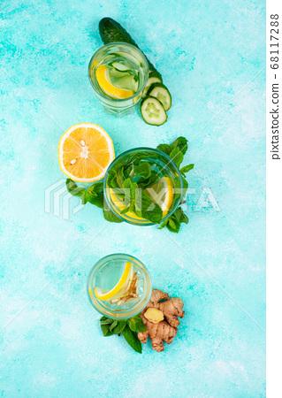 Set of various healthy detox water 68117288