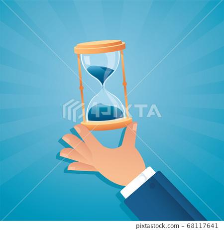 hand holding hourglass vector illustration  68117641