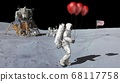 Astronaut walking on the moon with red balloons. 68117758