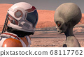 Astronaut meets a Martian on Mars. First contact. 68117762