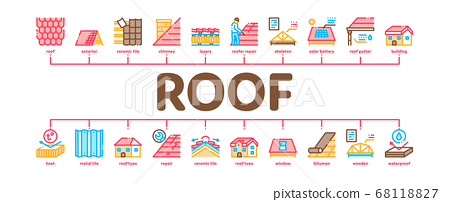 Roof Housetop Material Minimal Infographic Banner Vector 68118827