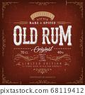 Vintage Old Rum Label For Bottle 68119412