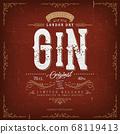 Vintage London Gin Label For Bottle 68119413