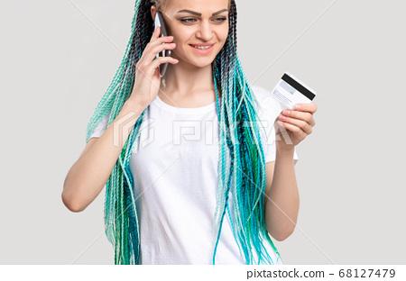 z generation woman blue hair braids credit card 68127479