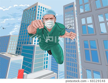 Doctor Nurse Scrubs Superhero Flying Super Hero 68129148