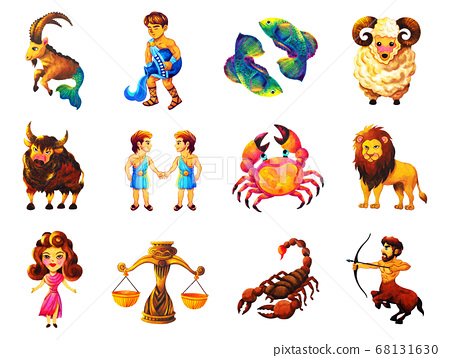 12 zodiac set astrology horoscope symbol sign logo 68131630