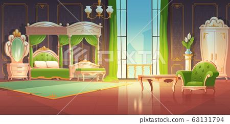 Luxury baroque bedroom with open doors to balcony 68131794