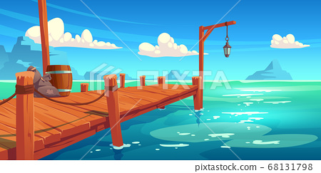 Wooden pier on river, lake or sea landscape, wharf 68131798