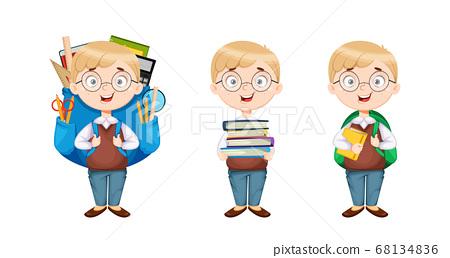 Back to school. Cute schoolboy, set of three poses 68134836