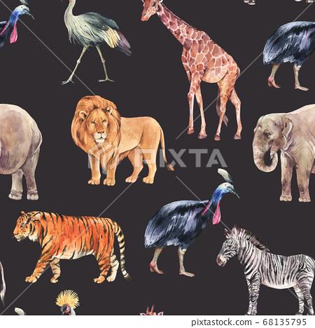 Watercolor jungle, safari animals summer seamless 68135795