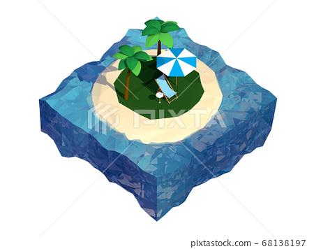 岛低多边形图标邮票3D 68138197