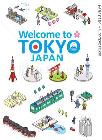 歡迎來到東京。旅遊勝地的例證圖像在東京。等距的等距圖。 68138694