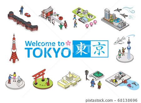 歡迎來到東京。旅遊勝地的例證圖像在東京。等距的等距圖。 68138696