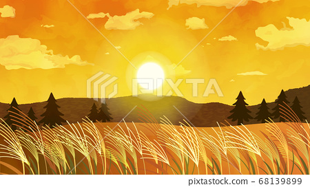 美麗的日落和鈴木景觀圖 68139899