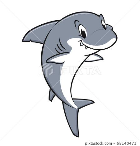 Cartoon Friendly Shark 68140473