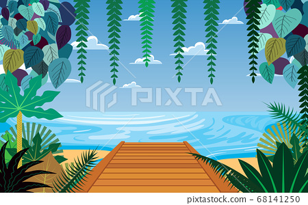 landscape of wooden bridge on the beach in day time 68141250
