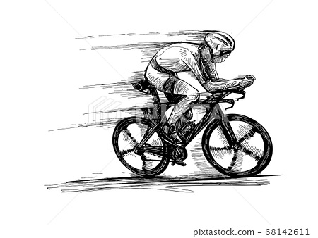 Drawing of the bicycle competition show riders isolate hand draw  68142611