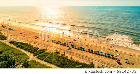 Aerial view of the ocean at Myrtle Beach, SC 68142735