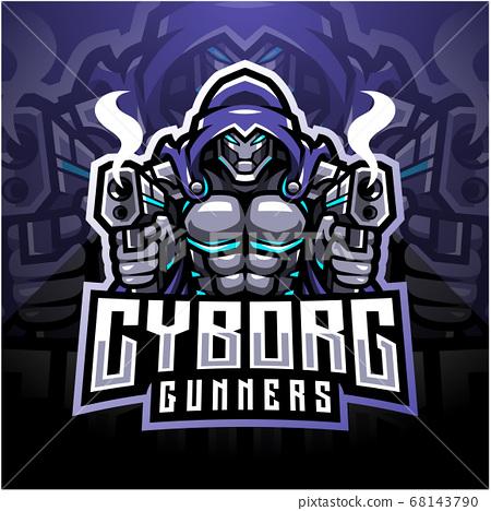 Cyborg gunners esport mascot logo design 68143790