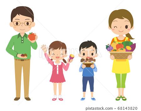 一家人拿著美味的秋季蔬菜和水果的插圖 68143820