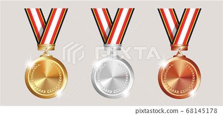 리얼한 느낌의 금 동메달 벡터 세트 68145178