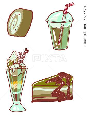 녹차 디저트 음료 카페 일러스트 68145741