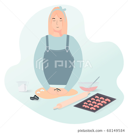 Vector flat illustration of blonde woman making bakery 68149584