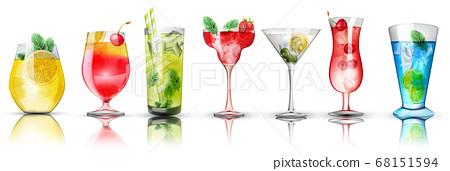 Set of colorful cocktails. Bright colors. Citrus 68151594