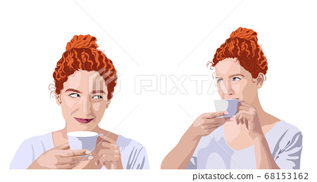 Set of curly ginger woman in white t-shirt 68153162