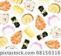 오세 치 요리 모양 수채화 풍의 일러스트 68156316