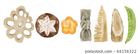 水煮的食物成分水彩风格的插图 68156322