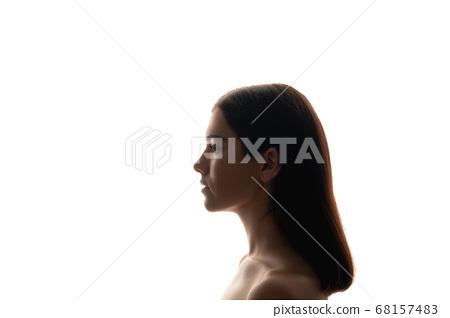 silhouette profile portrait natural beauty woman 68157483