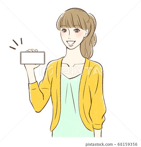 女人在這裡舉行一個微笑的智能手機屏幕 68159356