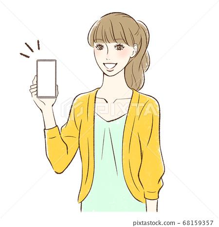 一個在這裡微笑並顯示智能手機屏幕的女人 68159357