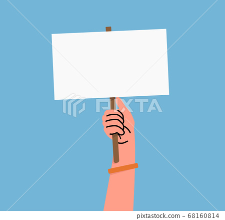human hand holding sign banner 68160814