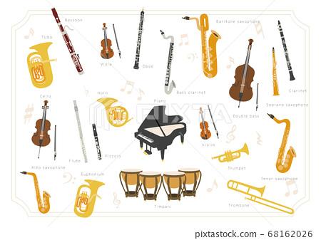 [樂器]樂團,銅管樂隊基本樂器的矢量組成 68162026